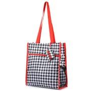 Zodaca Lightweight All Purpose Handbag Zipper Carry Tote Shoulder Bag for Travel Shopping - Houndtooth Red Trim