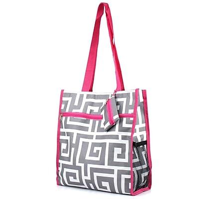 Zodaca Lightweight All Purpose Handbag Zipper Carry Tote Shoulder Bag for Travel Shopping - Greek Key Gray/Pink Trim