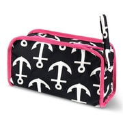Zodaca Travel Cosmetic Makeup Case Bag Pouch Toiletry Zip Organizer - Black Anchors with Pink Trim