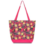 Zodaca Large All Purpose Lightweight Handbag Shopping Travel Tote Carry Shoulder Zipper Bag - Pink Yellow Paisley