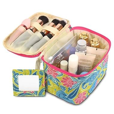 Zodaca Lightweight Makeup Travel Cosmetic Bag Case Multifunction Pouch Toiletry Zip Wash Organizer - Green Paisley