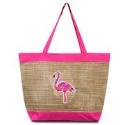 Zodaca lightweight Large Beach Handbag Zip Top Closure Carry Tote Shoulder Bag for Travel Outgoing - Pink Flamingo