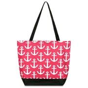 Zodaca Large All Purpose Handbag Travel Shopping Zipper Carry Tote Shoulder Bag - Pink Anchors with Black Trim