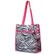 Zodaca Lightweight All Purpose Handbag Zipper Carry Tote Shoulder Bag for Travel Shopping - Zebra Pink Trim