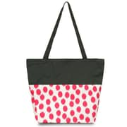 Zodaca Large All Purpose Lightweight Handbag Shopping Travel Tote Carry Shoulder Zipper Bag - Pink Dots with Black Trim