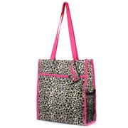Zodaca Lightweight All Purpose Handbag Zipper Carry Tote Shoulder Bag for Travel Shopping - Tote Bag Leopard Pink Trim