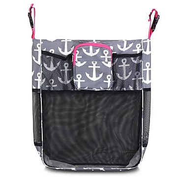 Zodaca Baby Cart Strollers Bag Buggy Pushchair Organizer Basket Storage Bag for Walk Shopping - Gray Anchors/Pink Trim,Size: small