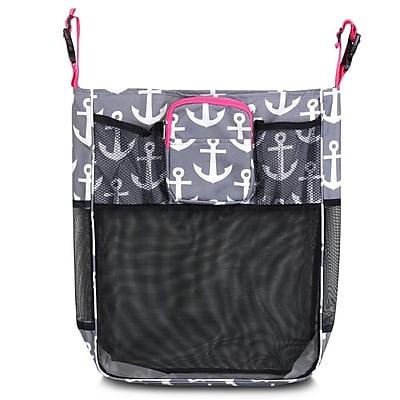 Zodaca Baby Cart Strollers Bag Buggy Pushchair Organizer Basket Storage Bag for Walk Shopping - Gray Anchors/Pink Trim
