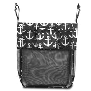 Zodaca Baby Cart Strollers Bag Buggy Pushchair Organizer Basket Storage Bag for Walk Shopping - Black/White Anchors