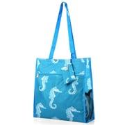 Zodaca Lightweight All Purpose Handbag Zipper Carry Tote Shoulder Bag for Travel Shopping - Blue Seahorse