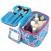 Zodaca Lightweight Makeup Travel Cosmetic Bag Case Multifunction Pouch Toiletry Zip Wash Organizer - Blue Quatrefoil