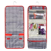 Zodaca Travel Hanging Cosmetic Carry Bag Toiletry Wash Organizer Storage - Hound Tooth Red Trim