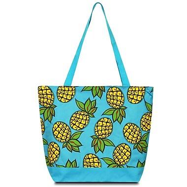 Zodaca Large All Purpose Lightweight Handbag Shopping Travel Tote Carry Shoulder Zipper Bag - Pineapple