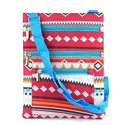 Zodaca Lightweight Padded Shoulder Cross Body Bag Messenger Travel Camping Zipper Bag - Aztec with Blue Trim