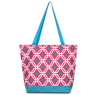 Zodaca Large All Purpose Lightweight Handbag Shopping Travel Tote Carry Shoulder Zipper Bag - Pink Graphic