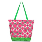 Zodaca Large All Purpose Lightweight Handbag Shopping Travel Tote Carry Shoulder Zipper Bag - Pink Quatrefoil