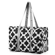 Zodaca Lightweight All Purpose Handbag Large Utility Shoulder Tote Carry Bag for Camping Travel Shopping - Black
