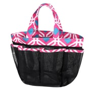 Zodaca Lightweight Mesh Shower Caddie Bag Quick Dry Bath Organizer Carry Tote Bag for Gym Camping - Pink Graphic
