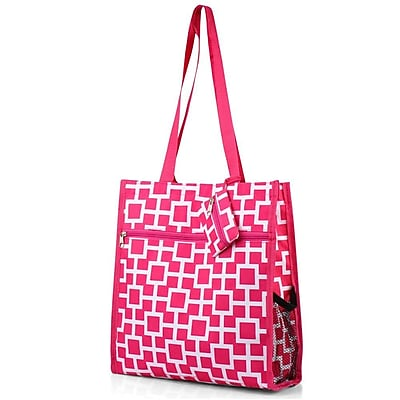 Zodaca Lightweight All Purpose Handbag Zipper Carry Tote Shoulder Bag for Travel Shopping - Pink/White Geometric