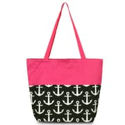 Zodaca Large All Purpose Handbag Shopping Travel Tote Carry Shoulder Zipper Bag - Black Anchors with Pink Trim