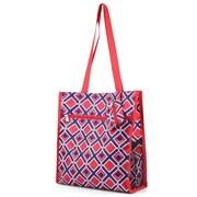 Zodaca Lightweight All Purpose Handbag Zipper Carry Tote Shoulder Bag for Travel Shopping - Navy/Red Times Square
