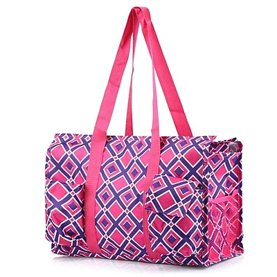 Zodaca Lightweight All Purpose Handbag Large Utility Shoulder Tote Carry Bag for Camping Travel Shopping - Purple/Pink