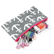 Zodaca Pencil Case Toiletry Holder Cosmetic Bag Travel Makeup Zip Storage Organizer - Gray Anchors with Pink Trim