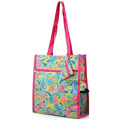 Zodaca Lightweight All Purpose Handbag Zipper Carry Tote Shoulder Bag for Travel Shopping - Green Paisley