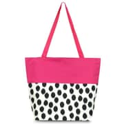 Zodaca Large All Purpose Lightweight Handbag Shopping Travel Tote Carry Shoulder Zipper Bag - Black Dots with Pink Trim