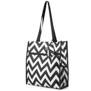 Zodaca Lightweight All Purpose Handbag Zipper Carry Tote Shoulder Bag for Travel Shopping - Black/White Chevron