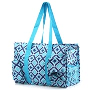 Zodaca Lightweight All Purpose Handbag Large Utility Shoulder Tote Carry Bag for Camping Travel Shopping -Navy/Turquoise