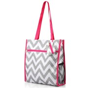 Zodaca Lightweight All Purpose Handbag Zipper Carry Tote Shoulder Bag for Travel Shopping - Gray/White Chevron/Pink Trim