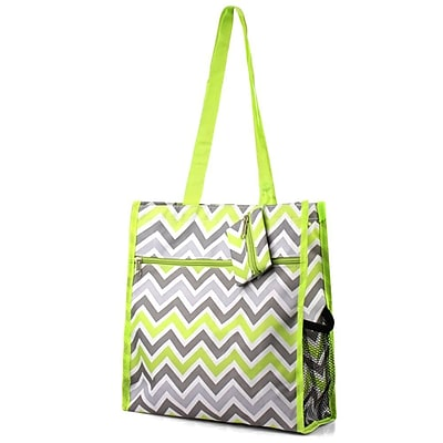 Zodaca Lightweight All Purpose Handbag Zipper Carry Tote Shoulder Bag for Travel Shopping - Green/Gray Chevron