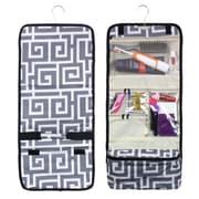 Zodaca Travel Hanging Cosmetic Carry Bag Toiletry Wash Organizer Storage - Gray Greek Key with Black Trim