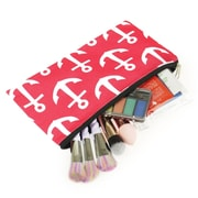 Zodaca Pencil Case Toiletry Holder Cosmetic Bag Travel Makeup Zip Storage Organizer - Pink Anchors with Black Trim