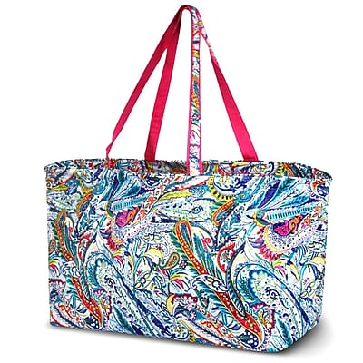 Zodaca Stylish Large All Purpose Open Top Handbag Laundry Shopping Utility Tote Carry Bag - Times Square Paisley