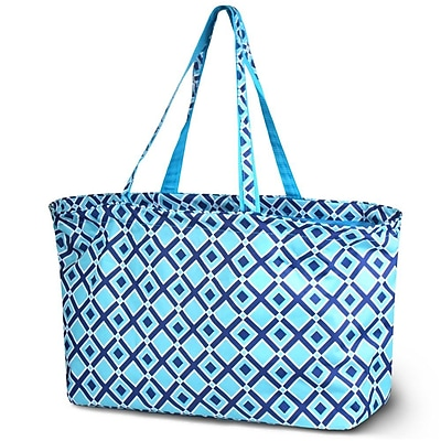 Zodaca Stylish Large All Purpose Open Top Handbag Laundry Shopping Utility Tote Carry Bag - Times Square Turquoise