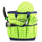 Zodaca Garden Multiple Pocket Utility Tote Carry Bag with Gloves and Water Resistant Kneeling Pad - Green/Navy