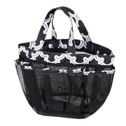Zodaca Lightweight Mesh Shower Caddie Bag Quick Dry Bath Organizer Carry Tote Bag for Gym Camping - Black Quatrefoil