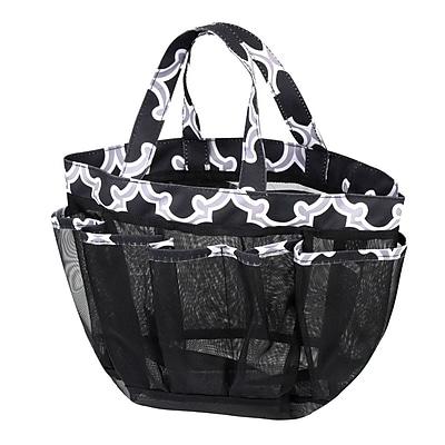 Zodaca Lightweight Mesh Shower Caddie Bag Quick Dry Bath Organizer Carry Tote Bag for Gym Camping - Black Quatrefoil