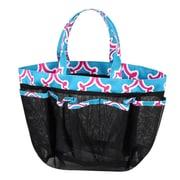 Zodaca Lightweight Mesh Shower Caddie Bag Quick Dry Bath Organizer Carry Tote Bag for Gym Camping - Blue Quatrefoil