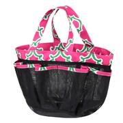 Zodaca Lightweight Mesh Shower Caddie Bag Quick Dry Bath Organizer Carry Tote Bag for Gym Camping - Pink Quatrefoil