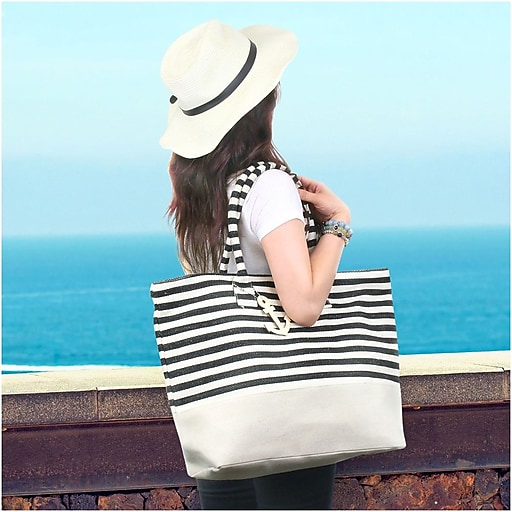 cb2bfe792802 Zodaca Stripes Women Handbag Ladies Large Shoulder Tote Purse ...