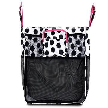 Zodaca Baby Cart Strollers Bag Buggy Pushchair Organizer Basket Storage Bag for Walk Shopping - Black Dots/Pink Trim,Size: small