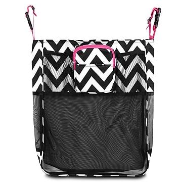 Zodaca Baby Cart Strollers Bag Buggy Pushchair Organizer Basket Storage Bag for Walk Shopping - Black/White/Pink Trim,Size: small