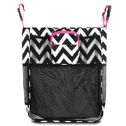 Zodaca Baby Cart Strollers Bag Buggy Pushchair Organizer Basket Storage Bag for Walk Shopping - Black/White/Pink Trim