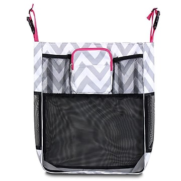Zodaca Baby Cart Strollers Bag Buggy Pushchair Organizer Basket Storage Bag for Walk Shopping - Gray/White/Pink Trim,Size: small