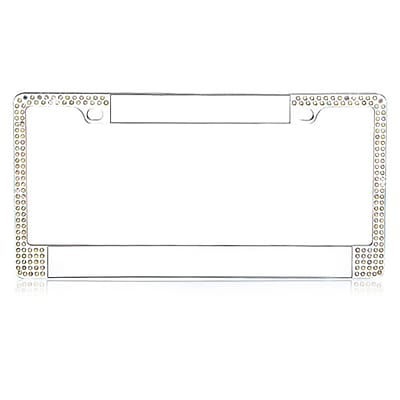 Insten Customizable Chrome Metal License Plate Frames with Double Row Shining Multi-color Crystals