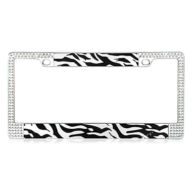 Insten Black and White Zebra Design License Plate Frames with Double Row Shining White Crystals
