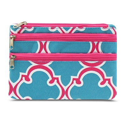 Zodaca Women Coin Purse Wallet Zipper Pouch Bag Card Holder Case - Blue Quatrefoil